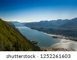 South facing view of Gastineau Channel from Mount Roberts, Juneau, Alaska, USA.