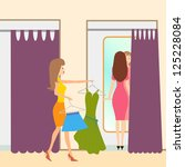 two girls in a fitting room | Shutterstock . vector #125228084