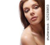 beautiful brunette woman with... | Shutterstock . vector #125230853