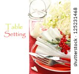 Red and white romantic table setting. - stock photo