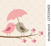 birds under umbrella. romantic...
