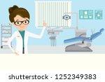 happy woman doctor dentist in... | Shutterstock .eps vector #1252349383
