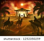 christmas nativity scene  baby... | Shutterstock . vector #1252350259