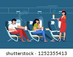 man and woman with stewardess... | Shutterstock .eps vector #1252355413