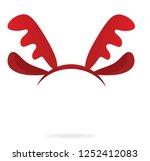 reindeer horns head band.... | Shutterstock .eps vector #1252412083