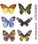 six butterfly on white | Shutterstock . vector #125241800