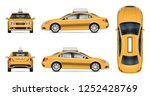 taxi car vector mockup on white ... | Shutterstock .eps vector #1252428769