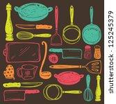 seamless cooking utensils | Shutterstock .eps vector #125245379