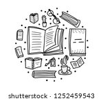 book set in doodle style. round ... | Shutterstock .eps vector #1252459543