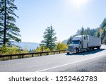 Big rig American powerful white classic semi truck transporting cargo in refrigerated semi trailer on winding autumn road in Columbia River Gorge in Washington - stock photo
