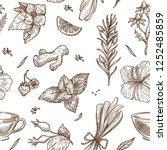 herbs sketch pattern background.... | Shutterstock .eps vector #1252485859