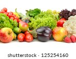 fruits and vegetables isolated... | Shutterstock . vector #125254160