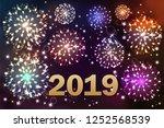 happy new 2019 year. vector... | Shutterstock .eps vector #1252568539