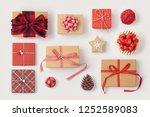 christmas gift boxes on white...   Shutterstock . vector #1252589083