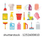 cleaning supplies. home clean... | Shutterstock .eps vector #1252600810