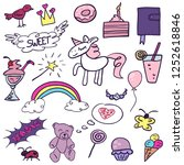 set with girlish vector doodle... | Shutterstock .eps vector #1252618846