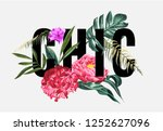 chic slogan with tropical... | Shutterstock .eps vector #1252627096