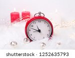 red clock   symbol of  new year ... | Shutterstock . vector #1252635793