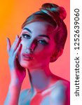 fashion model woman in colorful ... | Shutterstock . vector #1252639060