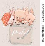 three cute lovely cartoon pigs... | Shutterstock .eps vector #1252651006