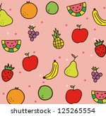 fruits drawing over pink... | Shutterstock .eps vector #125265554