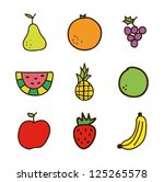 fruits drawing over white... | Shutterstock .eps vector #125265578