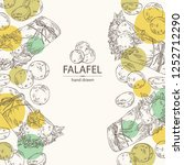 background with falafel in pita ... | Shutterstock .eps vector #1252712290