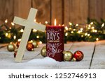 Holiday Candle With Wood Cross...