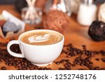 close up of a cup of latte or... | Shutterstock . vector #1252748176
