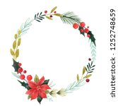 watercolor christmas floral... | Shutterstock . vector #1252748659
