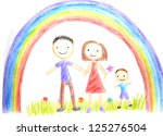 kids drawing happy family... | Shutterstock . vector #125276504