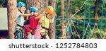 child in forest adventure park. ... | Shutterstock . vector #1252784803