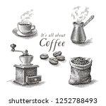 turkish cezve pot  cup of hot... | Shutterstock .eps vector #1252788493