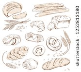 bread and sweet pastry ... | Shutterstock .eps vector #1252813180