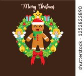 christmas gingerbread with... | Shutterstock .eps vector #1252823890
