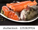 slices of raw trout for soup. | Shutterstock . vector #1252829926