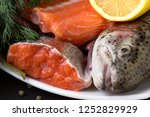 slices of raw trout for soup. | Shutterstock . vector #1252829929