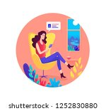 pretty girl sitting in the... | Shutterstock .eps vector #1252830880