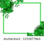 flower frame monstera ufo green ... | Shutterstock .eps vector #1252877863