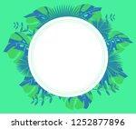 flower frame monstera ufo green ... | Shutterstock .eps vector #1252877896