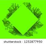 flower frame monstera ufo green ... | Shutterstock .eps vector #1252877950