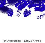flower frame monstera ufo green ... | Shutterstock .eps vector #1252877956