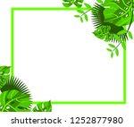 flower frame monstera ufo green ... | Shutterstock .eps vector #1252877980