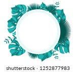flower frame monstera ufo green ... | Shutterstock .eps vector #1252877983