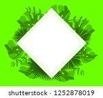flower frame monstera ufo green ... | Shutterstock .eps vector #1252878019