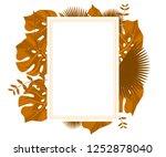 flower frame monstera ufo green ... | Shutterstock .eps vector #1252878040