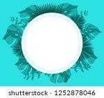 flower frame monstera ufo green ... | Shutterstock .eps vector #1252878046