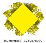 flower frame monstera ufo green ... | Shutterstock .eps vector #1252878070