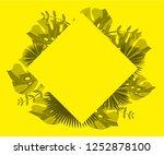 flower frame monstera ufo green ... | Shutterstock .eps vector #1252878100