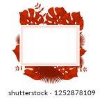 flower frame monstera ufo green ... | Shutterstock .eps vector #1252878109